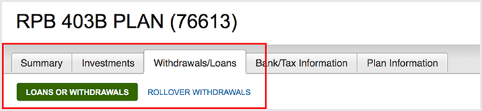 Withdrawals Tab Bordered